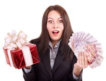 Woman with  money .Russian rouble. Royalty Free Stock Photos