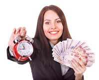 Woman with  money .Russian rouble. Woman with  money .Russian rouble and alarm. Isolated Stock Image