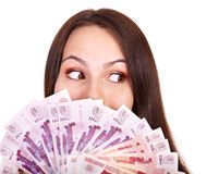 Woman with  money .Russian rouble. Stock Images