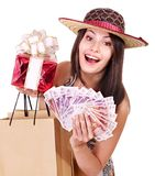 Woman with  money .Russian rouble. Royalty Free Stock Photography