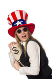 The woman with money sacks isolated on white Royalty Free Stock Photo