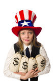 The woman with money sacks isolated on white Royalty Free Stock Images