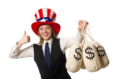 The woman with money sacks isolated on white Royalty Free Stock Photos
