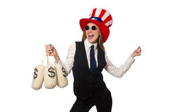 The woman with money sacks isolated on white Stock Images