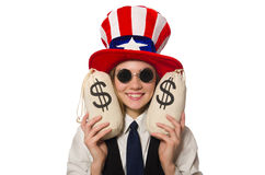 The woman with money sacks isolated on white Royalty Free Stock Image