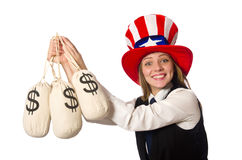 The woman with money sacks isolated on white Stock Photography