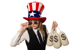 The woman with money sacks isolated on white Royalty Free Stock Photography