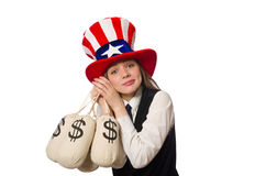 The woman with money sacks on white Royalty Free Stock Photography