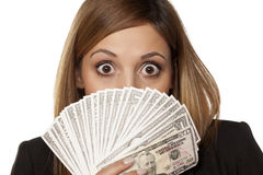 Woman and money Stock Photos