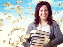 Woman and money Royalty Free Stock Images