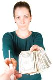 Woman with money and syringe Stock Photos