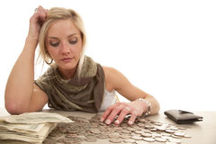 Woman money table change Royalty Free Stock Photos