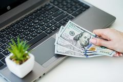Woman With Money at Workplace. Business Concept. Woman With Money at Workplace. Business Concept Stock Photos
