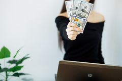 Woman With Money at Workplace. Business Concept. Woman With Money at Workplace. Business Concept Stock Photo