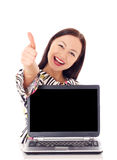 Woman with a monitor. Beautiful woman presenting monitor Stock Photos