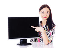 Woman with a monitor. Royalty Free Stock Photo