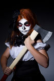 Woman monster with axe Stock Photo