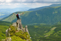 Woman in montains Royalty Free Stock Images