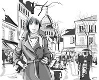 Woman in Montmartre square Stock Image