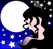 Stylized Woman and moon in a starry night Royalty Free Stock Photos
