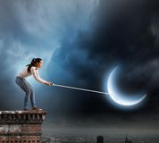 Woman with moon Royalty Free Stock Image