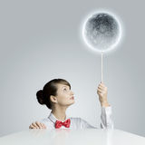 Woman with moon Stock Photos