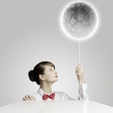 Woman with moon Royalty Free Stock Photos