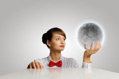 Woman with moon Stock Photography