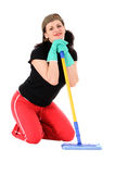 Woman with a mop Royalty Free Stock Images