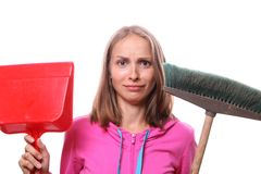 Woman with mop Stock Image