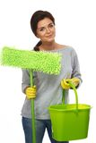 Woman with mop and bucket Royalty Free Stock Photo