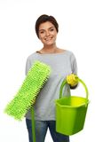 Woman with mop and bucket Stock Photos