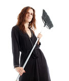 Woman and mop Royalty Free Stock Photo