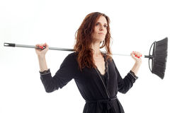 Woman and mop Royalty Free Stock Photos