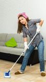 Woman Mopping  Floor Royalty Free Stock Image