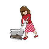 Woman mopping floor Stock Photos