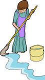 Woman Mopping Stock Images