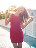 Woman in a morning backlight Royalty Free Stock Photo
