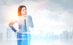 Woman in a morning city Royalty Free Stock Photos