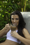 Woman with morning coffee Stock Images