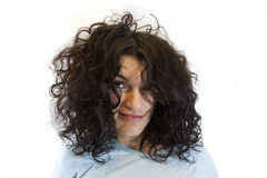 Woman with morning curle haircut royalty free stock images