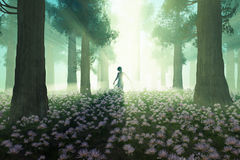 Woman in the morning forest stock illustration