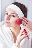Woman morning preparations Royalty Free Stock Photo
