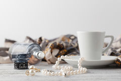 Woman morning time breakfast while ready to dating Royalty Free Stock Images