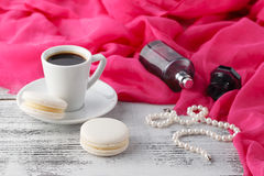 Woman morning time breakfast while ready to dating Royalty Free Stock Photography