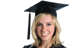 Woman With Mortarboard Royalty Free Stock Images