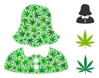 Woman Mosaic of Hemp Leaves. Woman composition of hemp leaves in variable sizes and green variations. Vector flat hemp objects are organized into woman Royalty Free Stock Photo