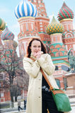 Woman on Moscow background Royalty Free Stock Image