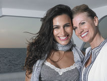 Woman With Mother In Boat Smiling Royalty Free Stock Photography