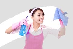 Woman mother cleaning Stock Photos